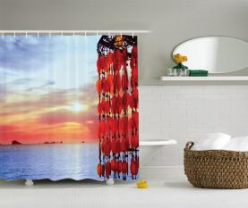Traumfänger Ibiza Sonnenuntergang Duschvorhang