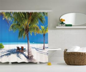 Island Palms Sonnenliegen Duschvorhang