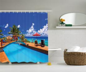 Meer Pool Strandurlaub Duschvorhang
