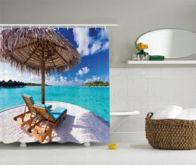 Sonnenbetten Flitterwochen Duschvorhang
