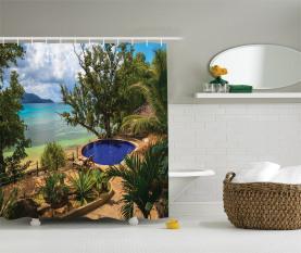 Exotischer Strand Sommer Duschvorhang