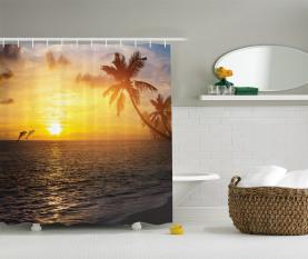 Palme-Insel-Sonnenuntergang Duschvorhang