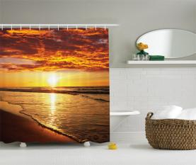 Strand Sonnenuntergang Küste Duschvorhang