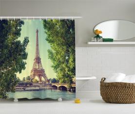 Eiffel Tower Seine River Duschvorhang