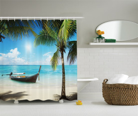 Kleines Boot Sunny Ocean Duschvorhang