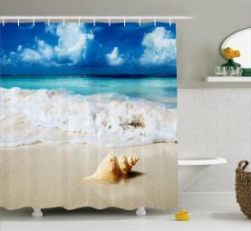 Nautische Sunny Coastline Duschvorhang