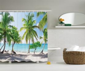 Palmen-Insel-Ufer Duschvorhang