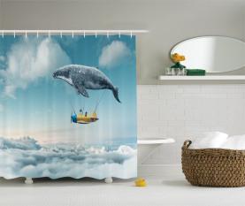 Verträumte Ansicht Wal-Wolken Duschvorhang