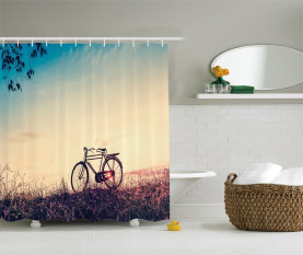 Sonnenuntergang Fahrrad Pastell Duschvorhang