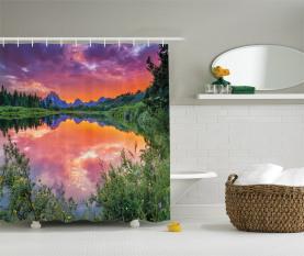 Sonnenuntergang Reflexion Fluss Duschvorhang