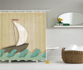 Seemöwen Bootfahren Marine Duschvorhang