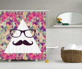 Hipster Schnurrbart Brille Duschvorhang