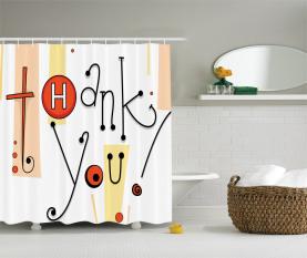 Doodle Kalligraphie Danke Duschvorhang