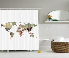 Typografische Länder Duschvorhang