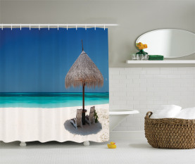 Sunbeds in Azure Shoreline Shower Curtain