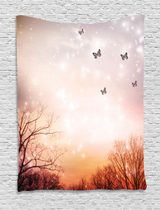 Fantasy  Tapestry Butterflies Trees Sky Printed Wall Hanging