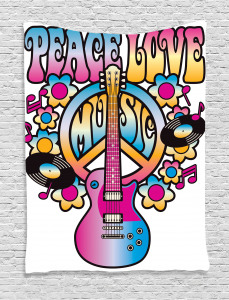 Colorful  Tapestry Peace Love Vinyl Music Printed Wall Hanging