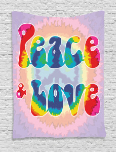 Hippie  Tapestry Youth Peace Love Tie Dye Printed Wall Hanging