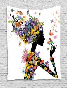 Colorful  Tapestry Flowers with Butterfly Printed Wall Hanging