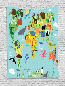 Cartoon  Tapestry Animal Map of the World Printed Wall Hanging