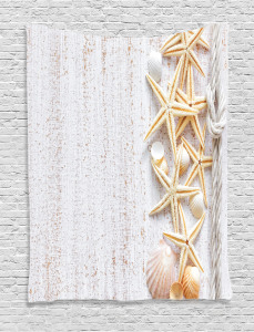 Ocean  Tapestry Seashells and Starfish Printed Wall Hanging