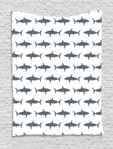 Shark  Tapestry Swimming Wild Fishes Printed Wall Hanging