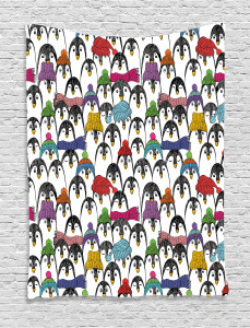 Penguin  Tapestry Winter Cartoon Animal Printed Wall Hanging