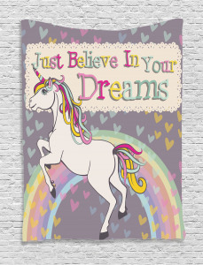 Unicorn  Tapestry Believe In Your Dreams Printed Wall Hanging