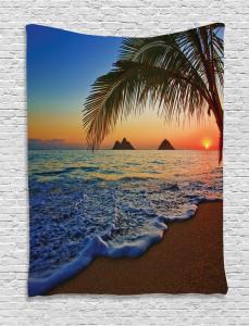 Hawaiian  Tapestry Sunrise Lanikai Beach Printed Wall Hanging