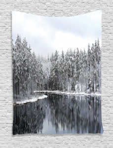 Winter  Tapestry Trees in Cold Day Lake Printed Wall Hanging