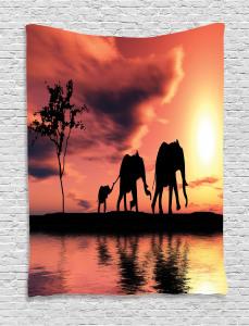 Africa  Tapestry Safari Wild Animals Printed Wall Hanging
