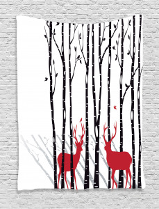 Antlers  Tapestry Deer Tree Forest Bird Printed Wall Hanging