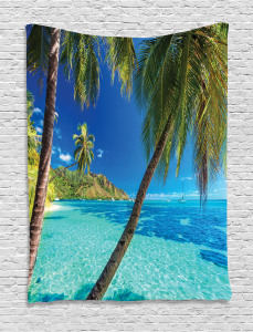 Tropical  Tapestry Palm Trees Sea Beach Printed Wall Hanging