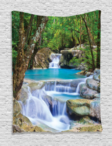 Nature  Tapestry Rocks in Waterfall Lake Printed Wall Hanging