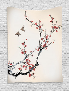Floral  Tapestry Asian Style Art Birds Printed Wall Hanging