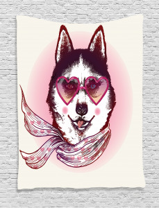 Animal  Tapestry Hipster Husky Dog Hearts Printed Wall Hanging