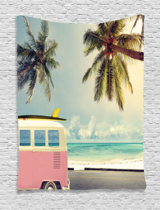 Colorful  Tapestry Retro Minivan on Beach Printed Wall Hanging