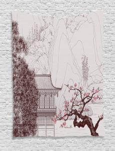 Asian  Tapestry Sakura Trees and Mountain Printed Wall Hanging
