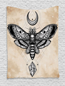Fantasy  Tapestry Hawk Moth Skull Magic Printed Wall Hanging