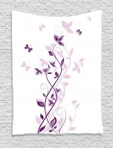 Purple  Tapestry Violet Tree Blossoms Printed Wall Hanging