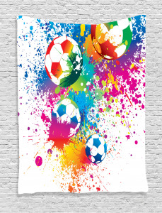 Soccer  Tapestry Colorful Splashes Balls Printed Wall Hanging