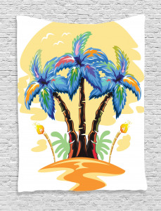 Tropical  Tapestry Cartoon Island Sunset Printed Wall Hanging