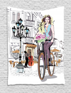Girls  Tapestry Lady Rides Bicycle Roses Printed Wall Hanging