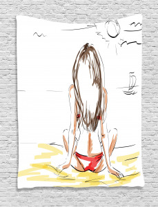Holiday  Tapestry Sketch Beach Summer Printed Wall Hanging