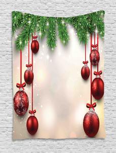 Christmas  Tapestry Red Balls Ribbons Printed Wall Hanging