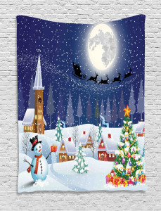 Christmas  Tapestry Winter Landscape Printed Wall Hanging