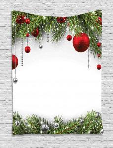 Christmas  Tapestry Baulbes Noel Tree Printed Wall Hanging