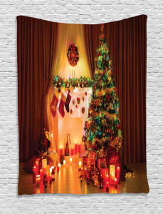 Christmas  Tapestry Tree Festive Presents Printed Wall Hanging