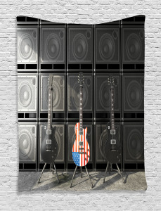 Music  Tapestry Digital Rock Guitar Printed Wall Hanging