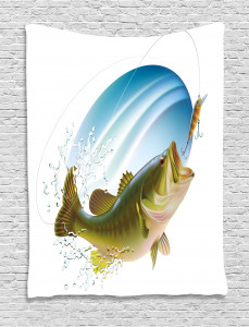 Fish  Tapestry Wild Life in Nature Theme Printed Wall Hanging